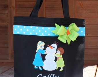 Personalized Elsa Anna Olaf Frozen Autograph Pin Library Book Tote Bag - Disney Frozen Anna Olaf