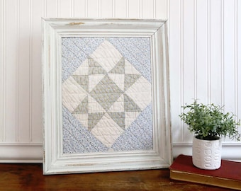 Framed Vintage Quilt, Framed Antique Cutter Quilt Piece, Blue and White Framed Quilt, Cottage Nursery Decor, Chippy Frame