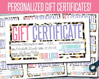 Gift Certificates! Personalized! Print Your Own! - GFC06