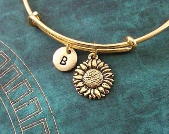 Sunflower Bangle Sunflower Bracelet Flower Charm Bracelet Bridesmaid Gift Expandable Bangle Stackable Bangle Adjustable Bangle Personalized