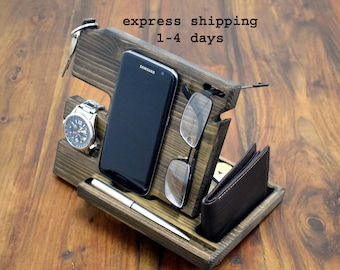 Easter gift, Docking station, Easter gift For Men, Desk Organizer, Easter, Easter gift wood organizer, Easter present, Wooden phone stand