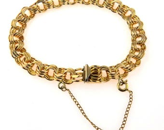 Chunky Gold Filled Triple Link Bracelet, 7""