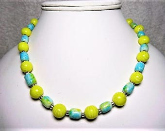 Yellow Round and Blue Barrel Beaded Necklace with Silver Seed Bead Spacers - Item 858 N