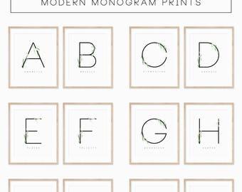 Modern Monogram Print   DIGITAL DOWNLOAD   Floral Poster Print