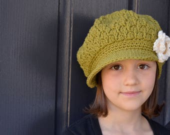 Crochet Hat, Avocado Green Hat, Girls Hat Slouchy Newsboy Hat, Crochet Hat Custom Color Option, Size Child Teen and Adult, The Buttercup Cap
