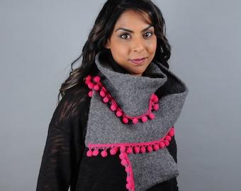 Pom Pom Fringe Scarf // Felted Merino Wool // Gifts for her // Merino Wool // Boiled Wool