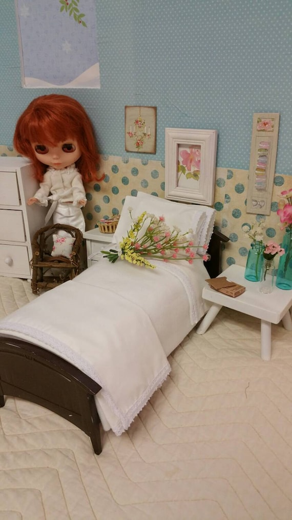 """11"""" Fashion Doll  Lace Sheet Set with Matching Stuffed Pillow Cases, Fleece Blanket 1/6 Scale"""