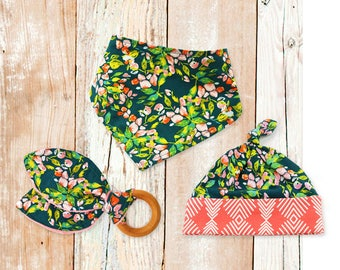 Baby Gift Bundle - SAGE FLORAL Teething Ring, Bandana Bib and Top-Knot Hat (baby gift, new baby gift, baby shower gift)