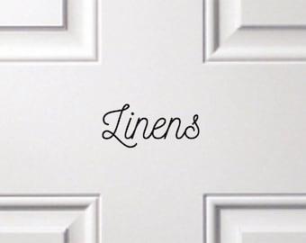 Vinyl Door Decal Linens Linen Closet