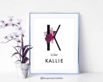 Kallie Kids Printables Baby Girl Name Sign Kids Party Favors Kids Wall Art Name Wall Art Floral Art Name Custom Art Kids Poster
