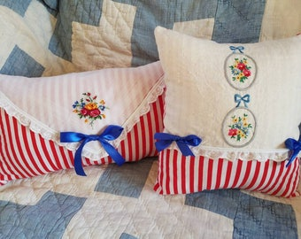Romantic Red & White Striped Pillows