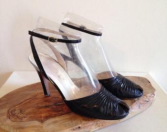 SALE!! Vintage Black Peeptoe Ankle Wrap High Heels 1980s Pin Up Size 9 1/2