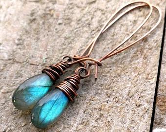 Labradorite Earrings, Copper Earrings, Blue Labradorite Earrings, Full Flash Earrings, Labradorite Drop Earrings, Oxidized Copper Earrings