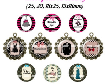 60 digital images for cabochon mon petit dressing   (25,18x25,20,13x18mm)