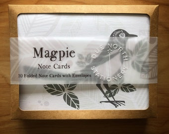 Due North Stationery, Note Card Set, Set of 10, Folded Cards, Magpie