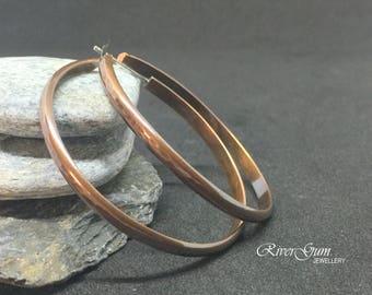 Large Copper Hoop Stud Earrings, Open Hoop Earrings, Half Round Hammered Copper Hoops, Large Hoop Earrings, Hammered Hoops