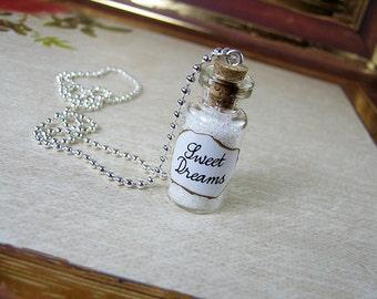 Sweet Dreams 2ml Glass Bottle Necklace Charm - Cork Vial Pendant - Bottle of Sweet Dreams