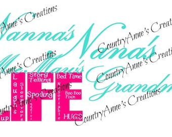 "SVG PNG DXF Eps Ai Wpc Cut file for Silhouette, Cricut, Pazzles, ScanNCut  -""Nana, grandma, and more  Life""  svg"
