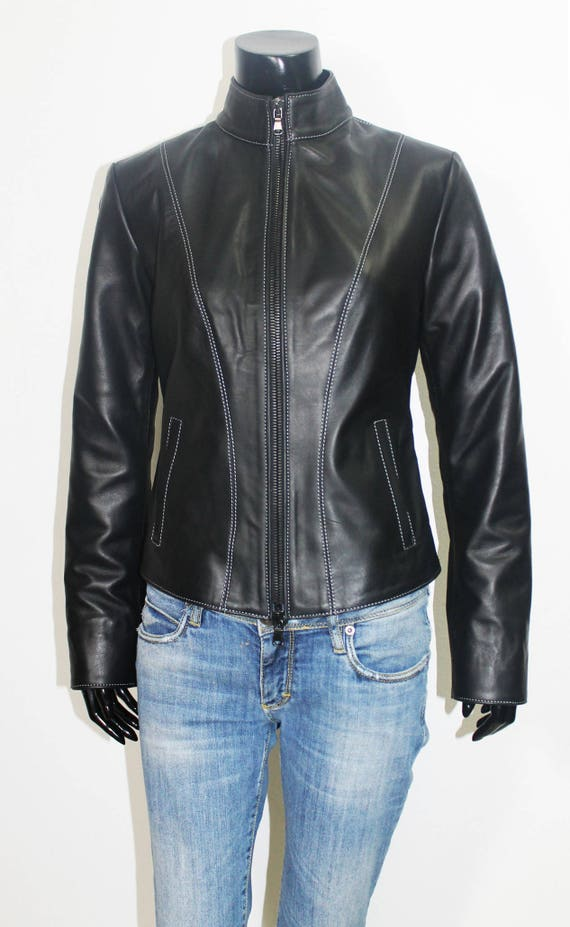 slim genuine jacket black leather to Italian 2XL fit handmade Women S E1qXIX