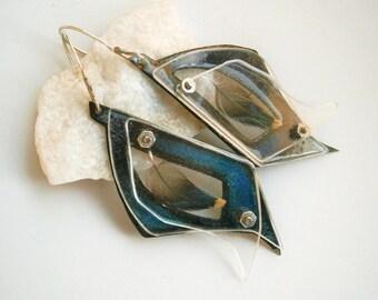 Enameled Starling Feather Specimen Earrings