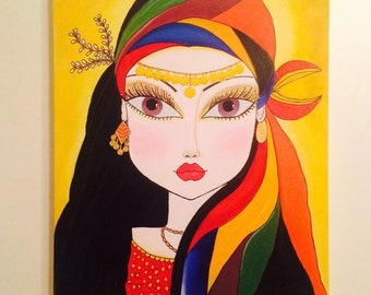Gypsy Girl Acrylic Painting on Canvas
