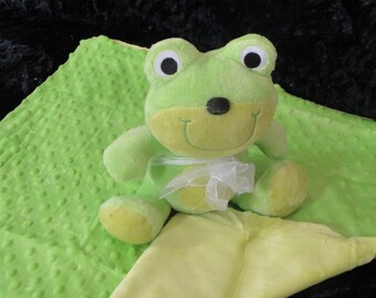 Frog Squeaker Toy & Blanket - Cuddle Critter Frog - Frog Toy and Blanket - Includes Embroidered Personalization