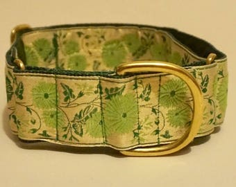 "Green & Gold Floral 1 1/2"" Martingale Collar"