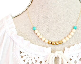 Summer necklace, Turquoise Beaded Necklace, White necklace, Gold bead necklace, Mother's Day necklace, Gift wife, Jewelry for wife