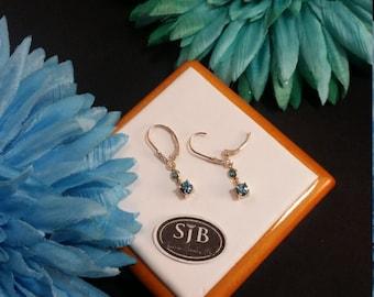 Blue Zircon Earrings, Blue Zircon Drop Earrings, 14k Yellow Gold Blue Zircon Leverback Dangle Earrings, December Birthstone Earrings, #E591