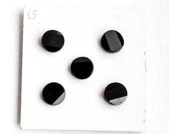 Antique Victorian black glass buttons x 5