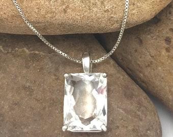 White Topaz Pendant, Emerald Cut, White Topaz Stone, Clear Topaz,Sterling Siver White Topaz Necklace