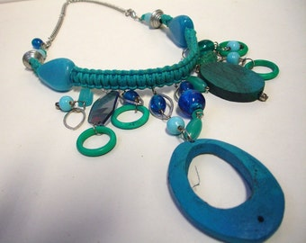 Mixed Media Aqua Blue Choker - Teal - ;Macramee Statement Necklace - Wood, Glass, Acrylic, Metal chain - Fashion Jewelry