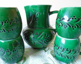 Green pitcher and mugs x 4