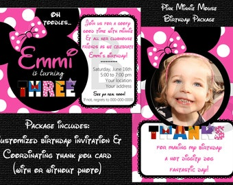Minnie Mouse Birthday Invite/Thank You Card Package - With or WIthout Photo