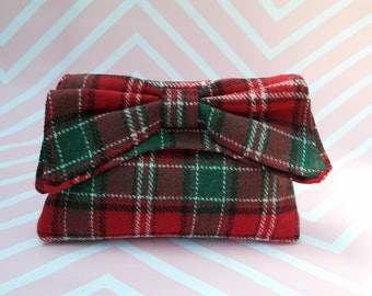 Katharine - Red & Green Tartan Harris Tweed Clutch Bag - evening purse - bow - formal - handmade