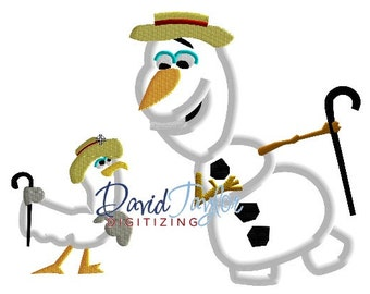 Frozen Mary Poppins Olaf as Bert - Embroidery Machine Design  Applique - 2 sizes,7 formats - Instant Download - David Taylor Digitizing