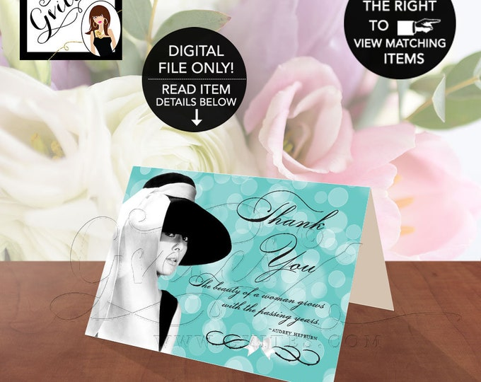 """Audrey Hepburn Thank You Cards, Breakfast at Party Themed, Birthday, Bridal Shower, Customizable Audrey Quote. PRINTABLE. 5x3.5"""" 2 Per/Sheet"""