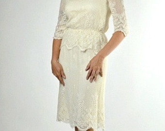 Beige Bohemian Dress, 1970s Clothing Women, Off White Blouse & Skirt Set, Lew Magram, Boho Chic Lace Dress