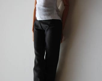 barbie clothes; white shirt and black pants