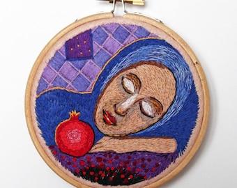 Sleeping woman with pomegranate hoop art Woman portrait hand embroidery Pomegranate hand embroidery Woman with pomegranate fiber art