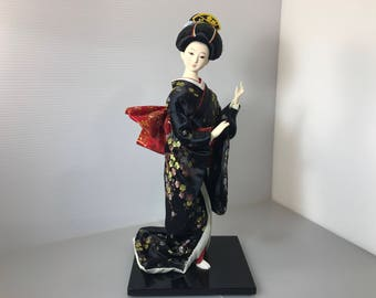 Rare Japanese doll Nihon ningyo silk kimono handmade doll 1960s Antique Unique Rare geisha doll Unique silk kimono doll made in Japan (#168)