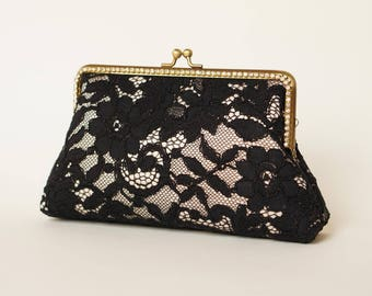 Alencon Black & Champagne Evening Clutch Bag / Customized clutch / Black Formal clutch / Handbag