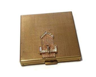 Vintage Volupte Goldtone Buckle Look Compact