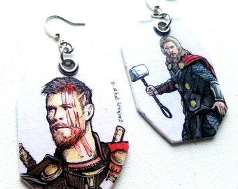 Thor the Dark World and Ragnarock Chris Hemsworth - hand-painted MCU comic book inspired earrings