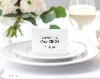Place Card Template, Wedding Place Cards Printable, Flat or Folded Tent Place Card Wedding, Place cards for Wedding Editable PDF #E004