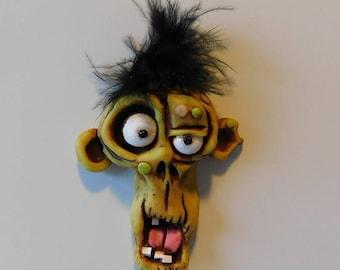 OOAK Refrigerator Magnet, Polymer Clay, Male Zombie, Kitchen Decor, Monster, Creature Sculpture, Handmade