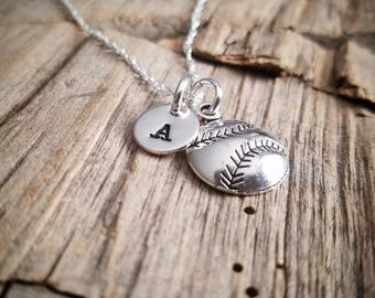 Baseball/Softball Necklace - Personalized Sterling Silver