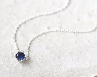 Sapphire Solitaire Necklace 925 Sterling Silver Dainty Tiny Stone jewelry