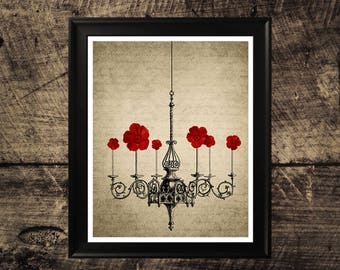 Chandelier with flowers print, vintage home decor, antique chandelier print, vintage wall art, printable wall design