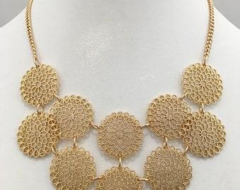 Gold Filigree Bib Necklace / Gold Filigree Circles Bib Necklace.